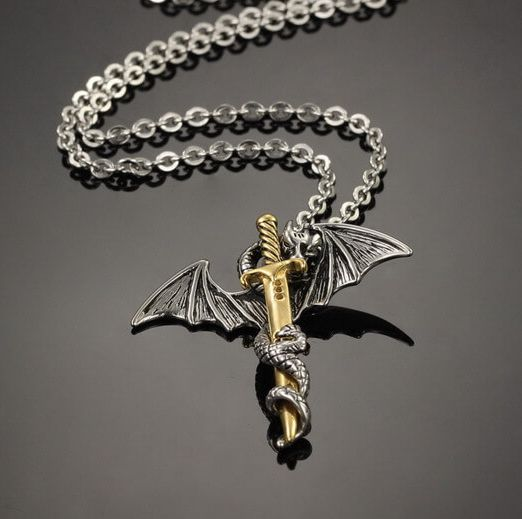gold dragon necklace for men black